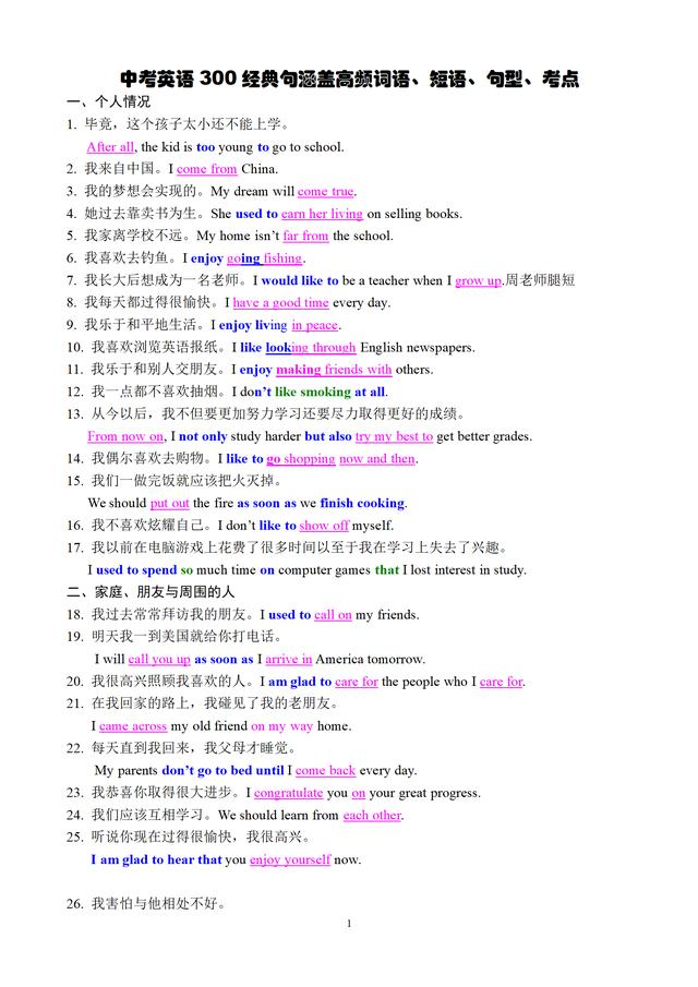 熬了七天,我用200个经典英文句子归纳初中高频短语和核心句型