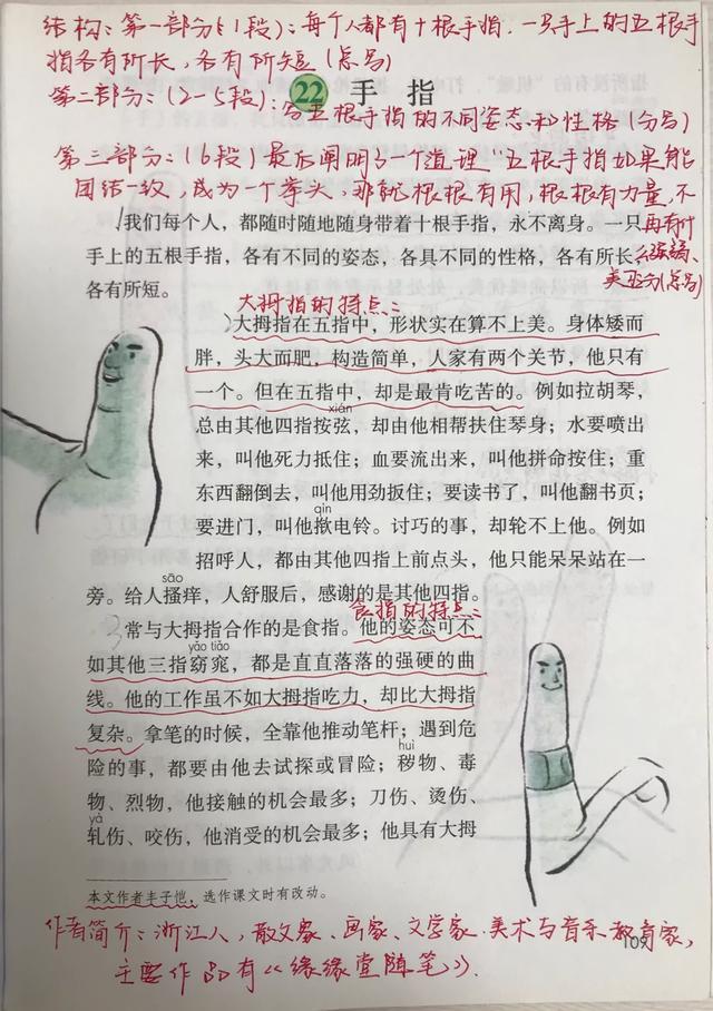 五年级语文下册,22课《手指》课堂笔记及全文解析