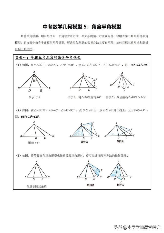 数学老师:我浓缩了沪教版初中数学 微盘初中数学核心考点和解题模型共计95页