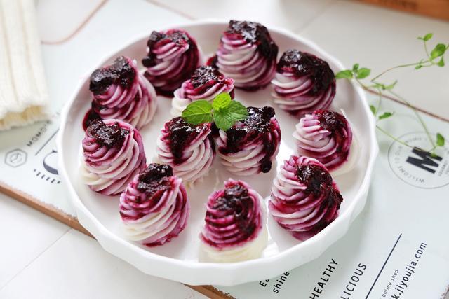 蓝莓的吃法,饭店孩子必点的蓝莓山药,酸甜可口,健脾养胃,自己在家做超美味