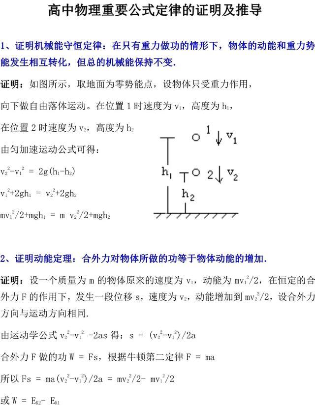 「高中物理」这些重要公式定律的证明&推导,你一定要牢记