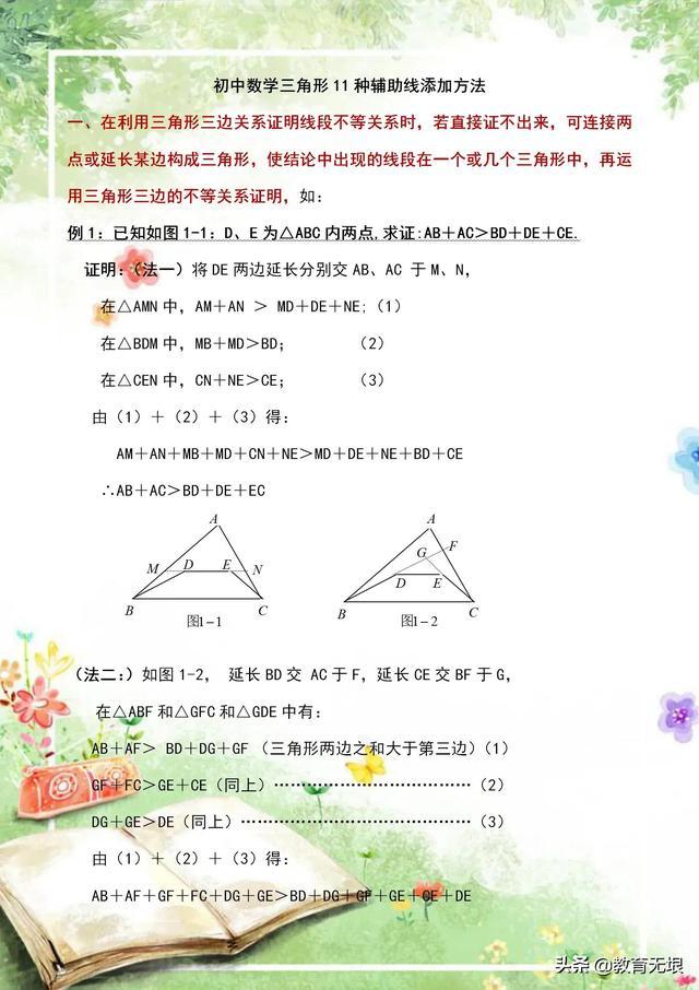 初中数学:三角形中作辅助线的1初中数学八年级下册沪教版1种常用方法,帮孩子高效学几何!