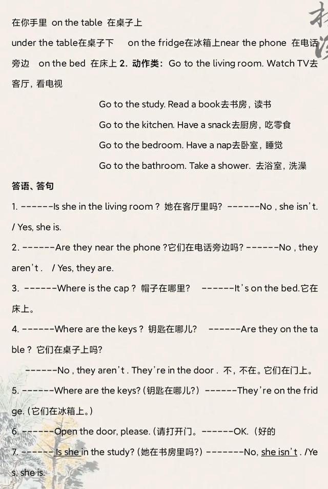 3-6年级英语语法汇总(人教版)【2】