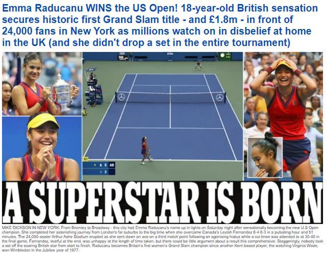 把C罗挤下头条的女人:1600万奖金到手,英国女王为她祝贺 全球新闻风头榜 第1张