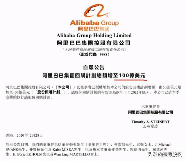 阿里股票,阿里巴巴股价跌去30%后,将回购股票金额增至100亿美元