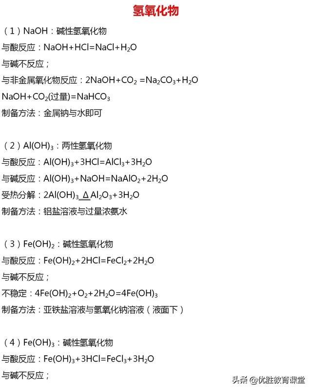 「必修一」高中化学必备知识点:3.2.2氢氧化物及其盐