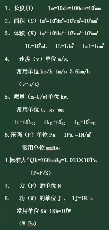 初中物理常用物理量的单位及其换算关系