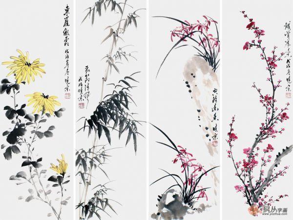 梅兰竹菊的象征意义,画家郑晓京作品欣赏 梅兰竹菊国画四君子