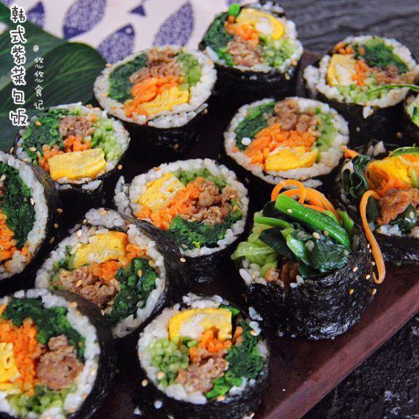紫菜包饭的做法,韩式紫菜包饭│料超足