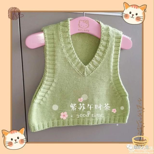 婴儿织法,绿芽:婴儿时尚迷你棒针背心(有编织说明)