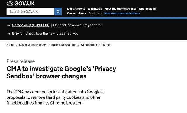 谷歌网页,谷歌浏览器拟禁用第三方Cookies 遭英国反垄断调查