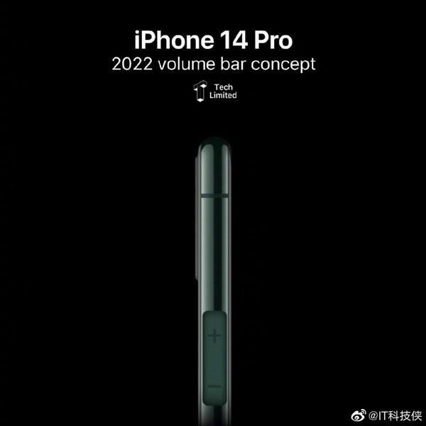iPhone 14 Pro渲染图曝光:取消实体音量键
