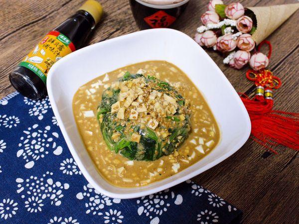 美食,#春日时令,美味尝鲜#麻汁豆干菠菜
