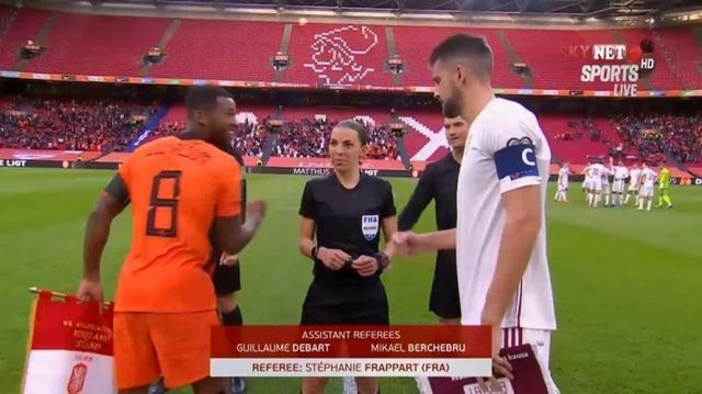 吹罚荷兰对阵拉脱维亚,女性裁判历史首次担任男子世预赛主裁