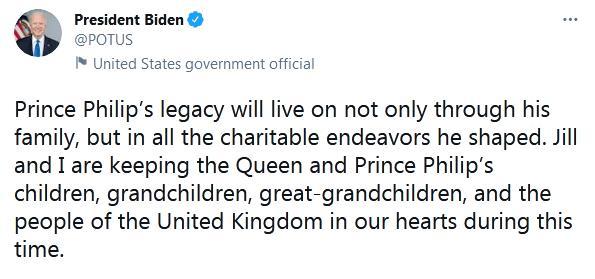 菲利普亲王去世,拜登刚刚发推悼念 全球新闻风头榜 第1张