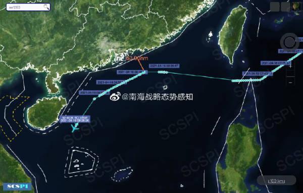 美空军RC-135W正沿广东和海南岛海岸进行抵近侦察 全球新闻风头榜 第1张