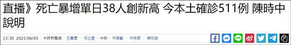 台湾新增本土确诊511例死亡38例,单日死亡病例创新高 全球新闻风头榜 第1张