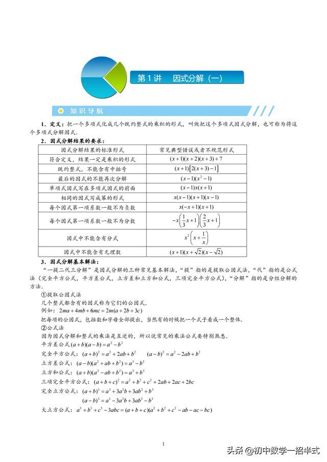 因式分解 第1-5讲-双十字相乘+拆项补项+待定系数法+整式除法