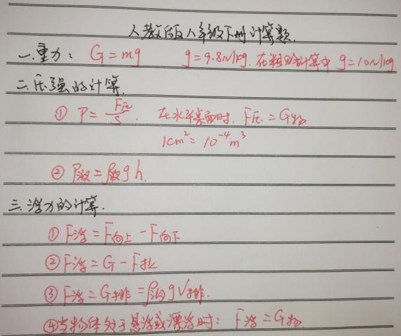 人教版八年级物理下册(计算题)总结