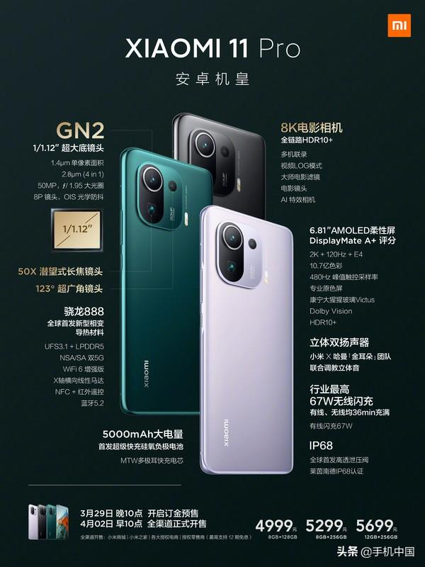 小米11 Pro/Ultra发布!首发GN2 4999元起