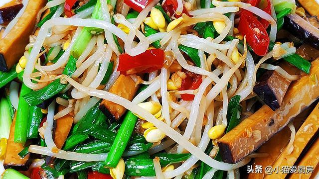 干炒豆腐的做法,黄豆芽和豆干一起这样炒,味道鲜美,营养又好吃,成本不足五元钱