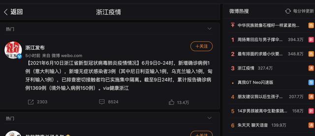 """浙江因出现1例境外确诊病例而冲上热搜第一,其中有何""""猫腻""""? 全球新闻风头榜 第1张"""