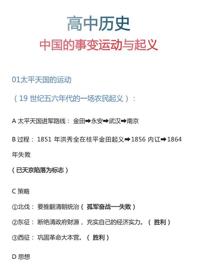 高中历史:中国的事变运动与起义丨文科生码住提分只在一瞬间