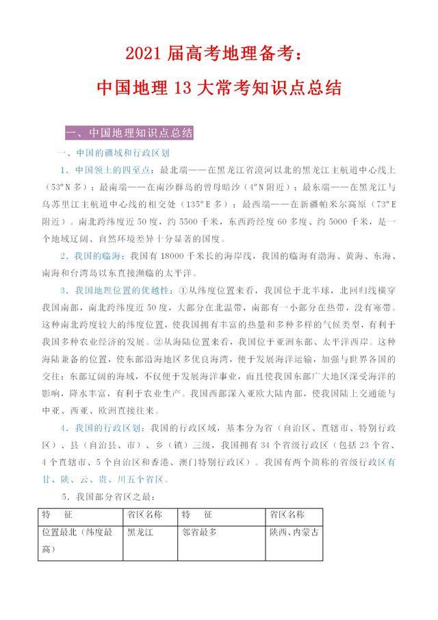 2021「高考地理」中国地理13大常考知识点总结 逢考必考