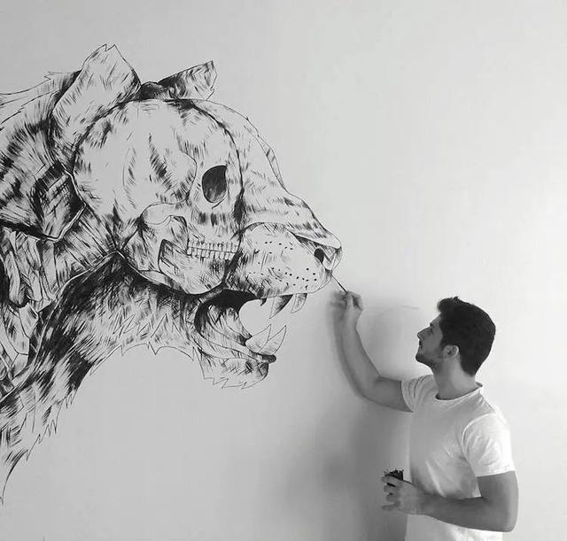 创意素描图片,自学成才的画家,用一根针管笔,画出精巧的创意素描,创意非凡