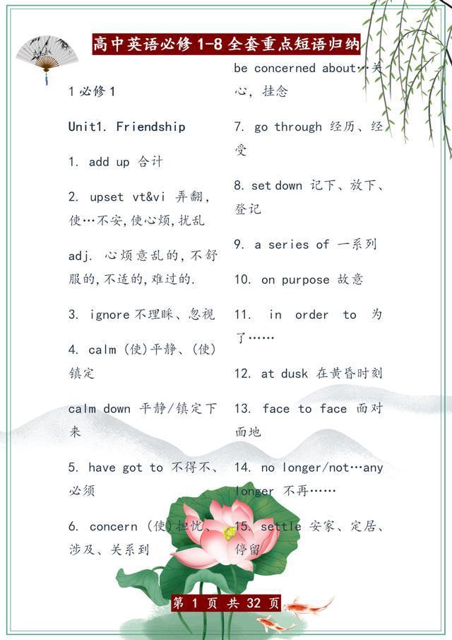 高中英语:必修1—选修8重点短语汇总,学霸必备!稳拿高分