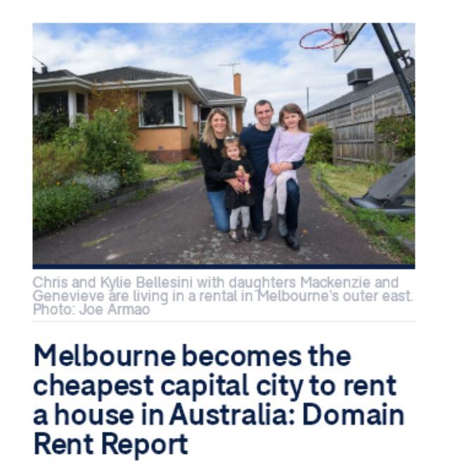 比阿德莱德还便宜 墨尔本成房租最低的澳洲首府城市