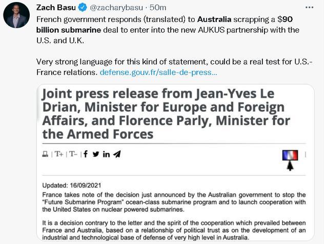 美英澳为对付中国宣布了一个重磅消息,让法国人非常不爽