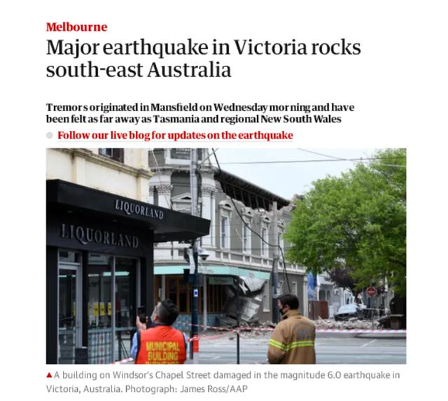 墨尔本北部发生6级地震 塔州新州均有震感