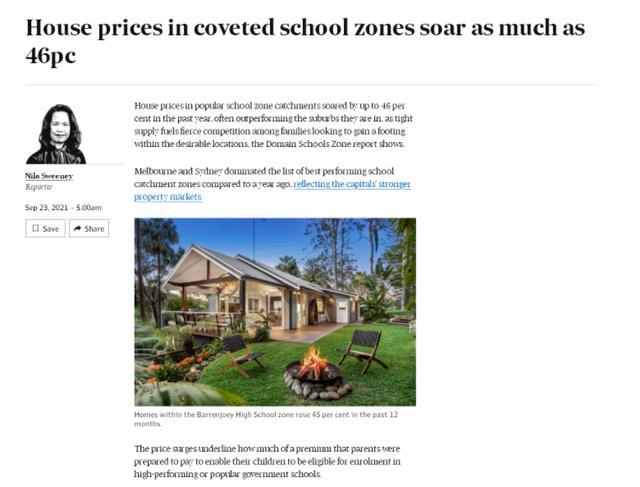 学区房压倒父母成全球性问题 澳洲或可借鉴中国学区房改革