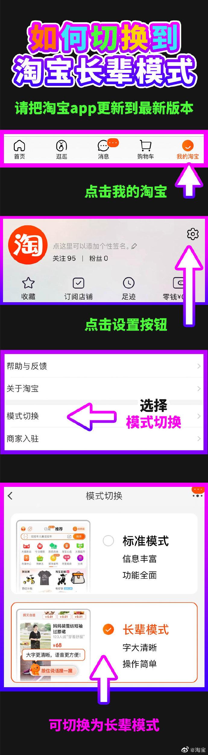 """淘宝上线""""长辈模式"""":字大清晰,页面更简单,操作更清晰"""