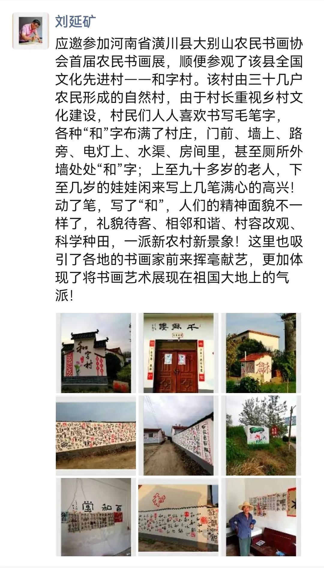 潢川县高楼和字村举行农民和字展