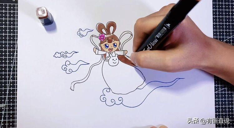 创意儿童画:中秋节主题画第五款嫦娥画法,卡通简笔画风格